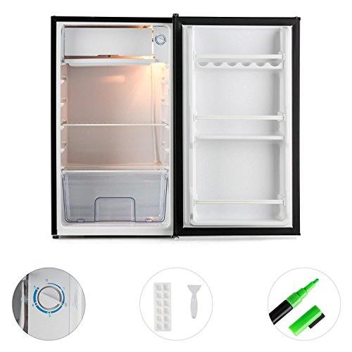 KLARSTEIN Spitzbergen Uni - Nevera, refrigerador, Marcador para Escribir en la Puerta, 90 l, 2 estantes de Vidrio, Compartimentos de Hielo y Verduras, Temperatura Ajustable en 5 Niveles, Negro