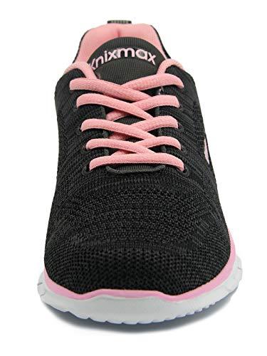 Knixmax-Zapatillas Deportivas para Mujer, Zapatillas de Running Fitness Sneakers Zapatos de Correr Aire Libre Deportes Casual Zapatillas Ligeras para Correr Transpirable, EU38 Negro Rose