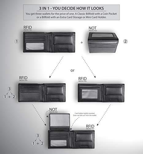 Koruma Cartera para Hombre - Monedero con Bloqueo de RFID Cuero para Tarjetas y Bolsillo Frontal con Botón para Monedas - Marrón, Negro (Negro - sin Cierre de botón)