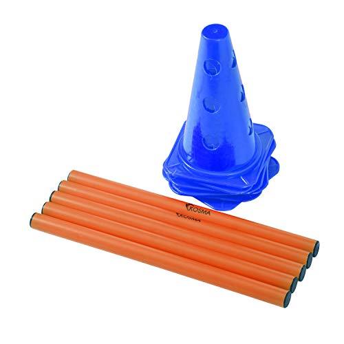 Kosma Juego de vallas de agilidad ajustable y multifuncional - 10Pc Marker Cone 9 pulgadas de color azul con 5Pc Color naranja Hurdle Poles 40 cm de largo - En bolsa de transporte
