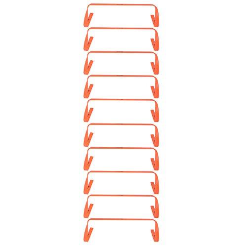 Kosma Paquete de 10 vallas planas de entrenamiento de agilidad | Ayuda de entrenamiento de velocidad multideportivo con asa de transporte: tamaño 9 pulgadas - color: naranja