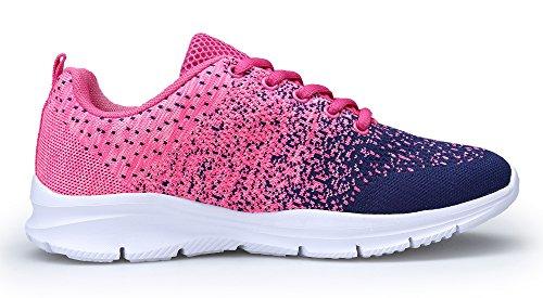 KOUDYEN Zapatillas Deportivas de Mujer Hombre Running Zapatos para Correr Gimnasio Calzado Unisex,XZ746-W-pinkblue-EU35