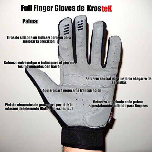 KrosteK Par de Guantes Full Fingers (M) - Guantes de Dedo Largo para Evitar los Callos. Entrenamiento Funcional.