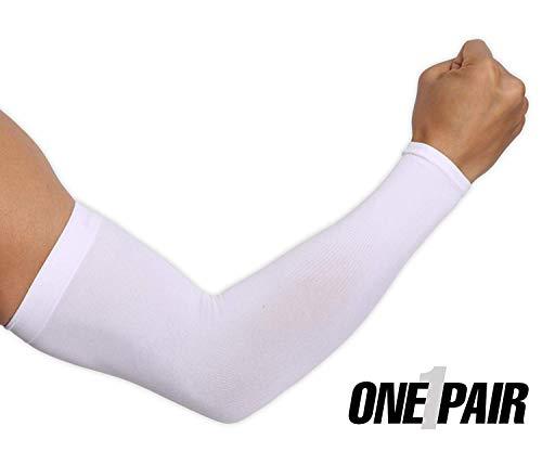 Ksnnrsng Mangas del Brazo Mangas Enfriamiento de Protección UV Largo Mangas de Sol para Deportes Ciclismo Baloncesto Corriendo Golf para Mujer Hombre (Blanco)