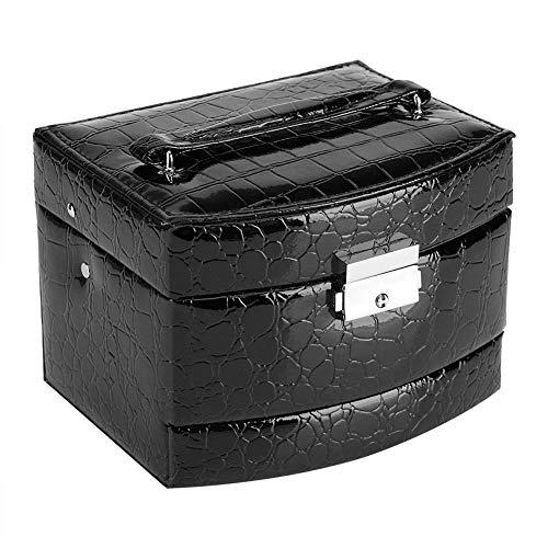 Küchenks Caja de joyería con Cerradura de 3 Capas, Caja de joyería portátil, Organizador de Almacenamiento, Caja, Anillo, Pendiente, Collar, cajón, Espejo, Cuero, Regalo (Negro, 15.5x13 x11.5CM)