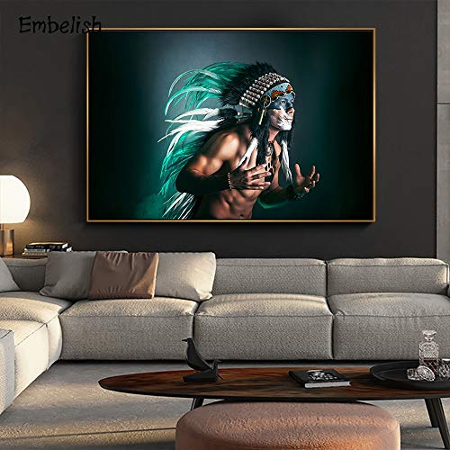 KWzEQ Imprimir en Lienzo Decoración de hogar de Pared de Hombre Indio para póster de Sala de estar50x70cmPintura sin Marco