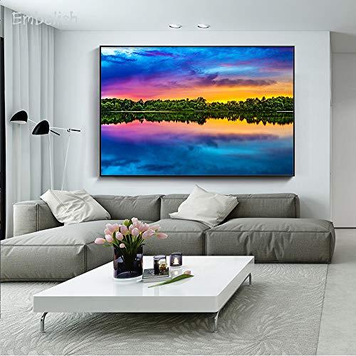 KWzEQ Imprimir en Lienzo Decoración del hogar de la Imagen del Arte de la Pared del Cielo Azul y del Bosque para los Carteles de la Sala de estar84x126cmPintura sin Marco
