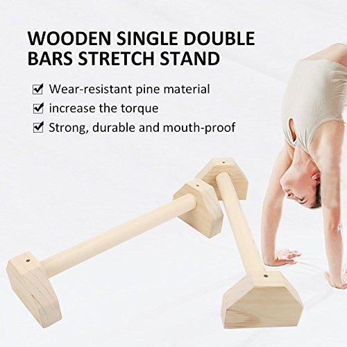 Lacyie Parallettes de madera Juego de 2 barras de empuje para calistenica, soporte de mano individual, doble asa, barra de ejercicios para yoga, barra de ejercicio