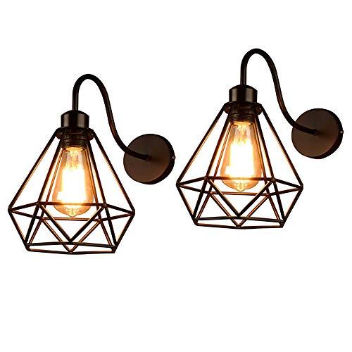 Lámpara de Pared de Hierro Estilo Vintage Retro Edison, Jaula de Metal Negro Industrial E27 Apliques de Pared Accesorio de Luz Para Sala de Estar Decoración de Cocina(2 Pack)