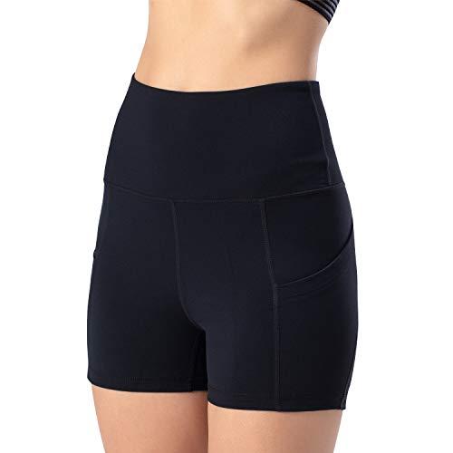 Leggings de yoga para mujer, talle alto, bolsillos para efecto faja, pantalones de entrenamiento, pantalones informales, Mujer, Pantaloni cropped, negro, xx-large