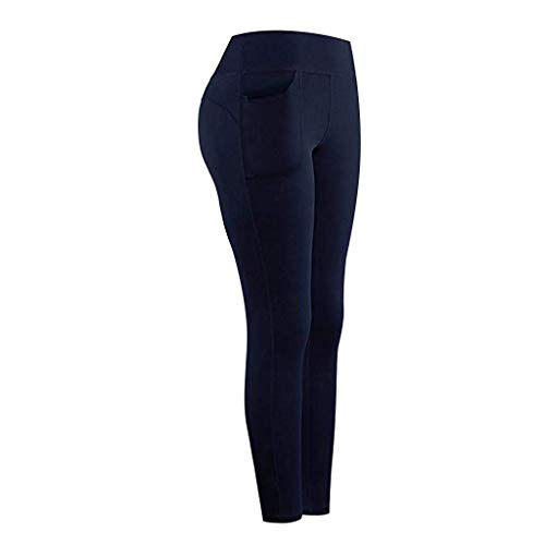 Leggings Mujer Fitness 2021 Venta de Liquidación Color Sólido Stretch Legging Yoga Mujer Workout Running Gym Bolsillos Leggings Deporte Mujer Activos Pantalones Chandal Mujer(Armada,S)