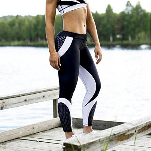 Leggings Yoga Mujer Pantalones Deportivos Mujer Largos Leggings para Running Deportes 3D Impresión Pantalones Push up Mujer Legging Pantalon Fitness Polainas de Gimnasio (Negro, S)