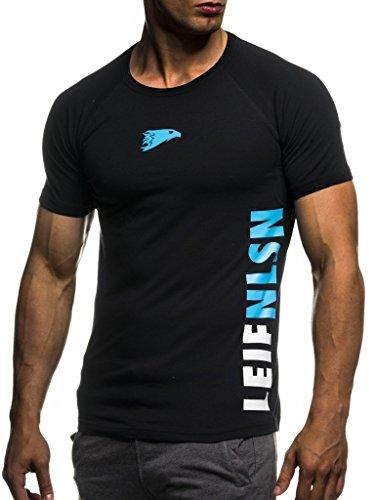 Leif Nelson Camiseta para Hombre con Cuello Redondo de Gimnasia Ropa de Deporte LN-06279 Azul Negro Medium
