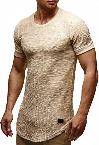 Leif Nelson Camiseta para Hombre con Cuello Redondo LN-6324 Beige X-Large