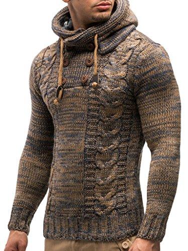 Leif Nelson Los Hombres del Jersey de Punto suéter Encapuchado LN-20227 Marrón Medium