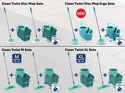 Leifheit Set de fregona rotatoria Clean Twist Disc Mop Ergo 2.0 con ruedas, giratoria con cabezal Micro Duo, set de limpieza en húmedo