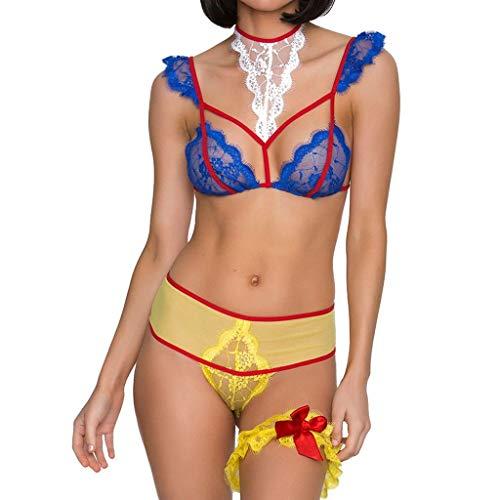 Lenceria Erotica de Mujer Vestido Ropa Interior de Encaje de Color Sexy Conjunto Ropa Interior Atractivo Babydoll Lencería Liguero Traje Tentación riou