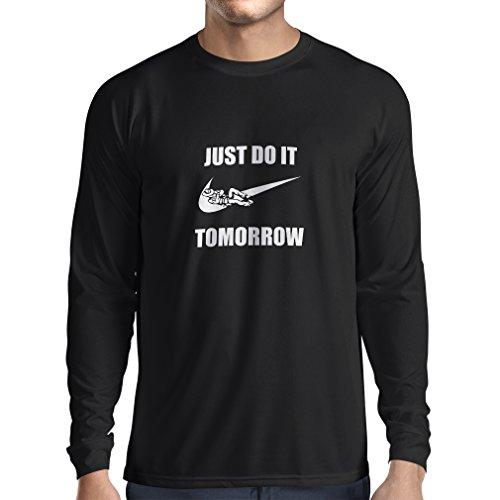 lepni.me Camiseta de Manga Larga para Hombre Solo hazlo mañana, motivación del Entrenamiento, Frases Divertidas de la Parodia. (Medium Negro Blanco)