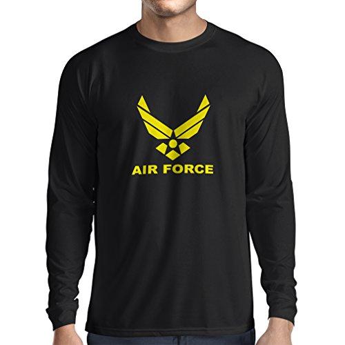 lepni.me Camiseta de Manga Larga para Hombre United States Air Force (USAF) - U. S. Army, USA Armed Forces (Small Negro Amarillo)