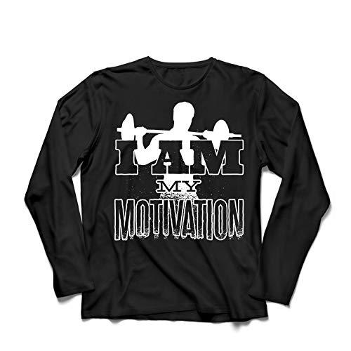 lepni.me Camiseta de Manga Larga para Hombre Yo Soy mi motivación, Levantamiento de Pesas, Sentadillas, Peso Muerto (X-Large Negro Multicolor)