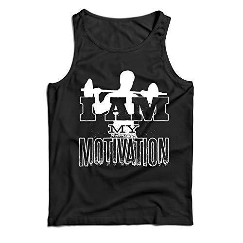 lepni.me Camisetas de Tirantes para Hombre Yo Soy mi motivación, Levantamiento de Pesas, Sentadillas, Peso Muerto (Large Negro Multicolor)