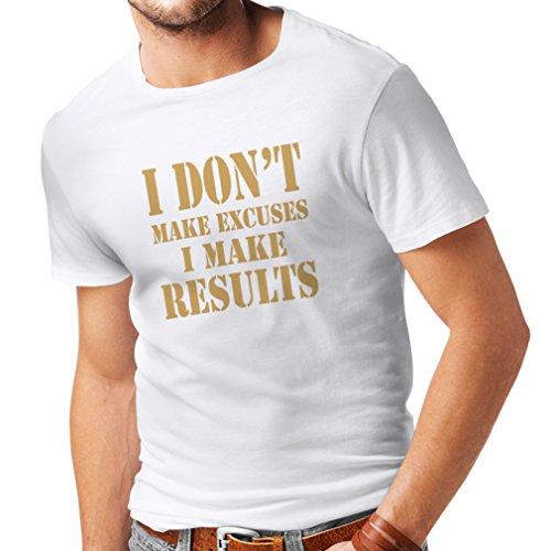 lepni.me Camisetas Hombre I Make Results - pierda Las Cotizaciones rápidas del Peso y los Refranes de motivación del Constructor del músculo (Small Blanco Oro)