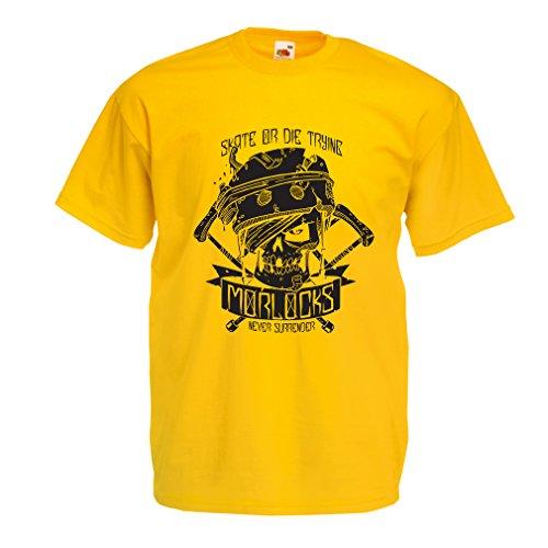lepni.me N4605 Camiseta Skate or Die Trying (X-Large Amarillo Multicolor)