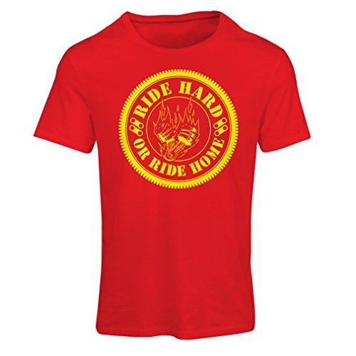 lepni.me N4688F Camiseta Mujer Ride Hard! Biker Clothing (Medium Rojo Multicolor)