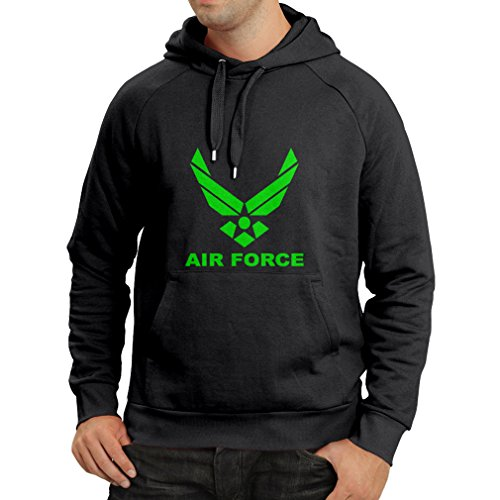lepni.me Sudadera con Capucha United States Air Force (USAF) - U. S. Army, USA Armed Forces (X-Large Negro Verde)
