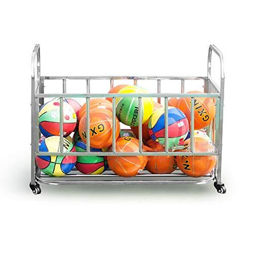LiangDa - Jaula de Almacenamiento para balones de Deporte, con Marco de Metal, Plateado, 85x63x110cm