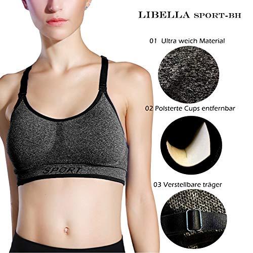 Libella Mujer Sujetador Deportivo Push Up Bustier con Amplio Correas Fitness Yoga Camisetas Sin Mangas 3714 Gris S/M