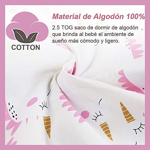 Licitn Saco de Dormir para Bebé - 2.5 TOG Saco de Dormir de Algodón Unisex para Bebés,Longitud Ajustable para Bebé (Rosa, 18-36Meses(90-110cm))