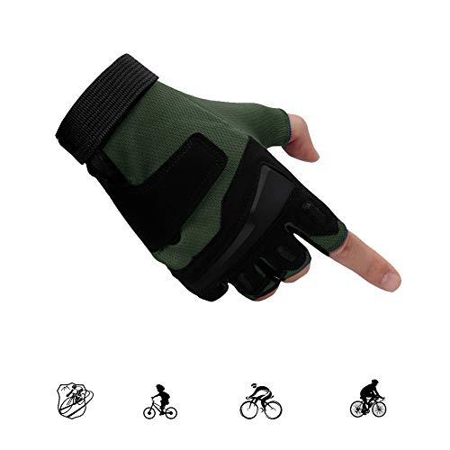 LieYuSportFF Guantes Gimnasio Medio Dedo,Amortiguación Resistente al Desgaste Guantes para Hombre y Mujer Workout Crossfit Fitness Sport Musculación,Guantes de Ciclismo Guantes de Bicicleta,Verde,XL