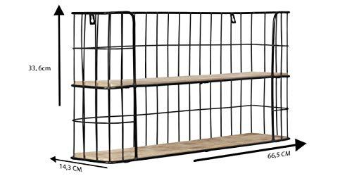 LIFA LIVING Estantería de Pared con 2 estantes, Madera y Metal, Diseño Vintage Industrial, Forma Rectangular, 66.5 x 33.6 x 14.3 cm