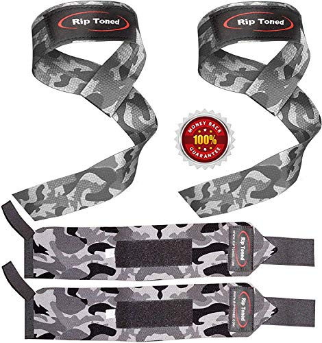 Lifting Straps + Wrist Wraps Bundle (1 PAIR of Each) by Rip Toned - *Bonus Ebook* for Weightlifting, Crossfit, Workout, Gym, Powerlifting, Bodybuilding - Lifetime Replacement Warranty!