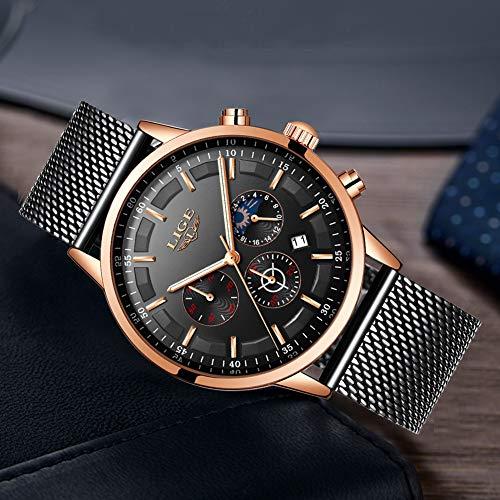 LIGE La Moda Relojes Hombre Negocios Impermeable Cuarzo simulado Reloj Fase Lunar Negro Acero Inoxidable Cinturón de Malla Relojes de Pulsera