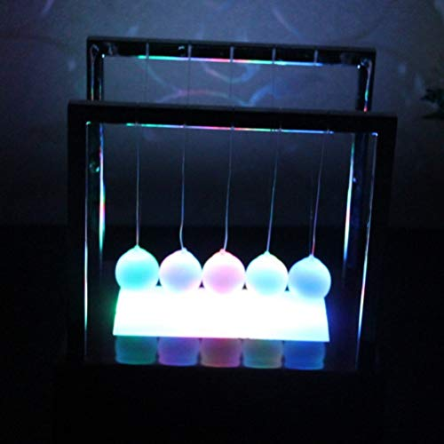 LIOOBO Iluminar Newton Cradle Balance Balls Péndulo Home Office Bumper Ball Escritorio Decoración Negro