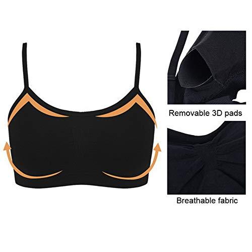Litthing Sujetador Invisible Slim fit sin Anillo de Acero Chaleco para Mujer la combinación de Ropa Interior Femenina (Negro,Blanco,Negro y Corazon, M)