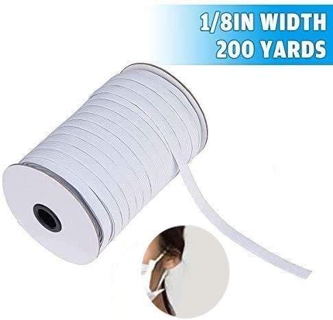 LIUMY Cordón goma Elástico Bandas 3 mm de ancho,cordón elástico de alto rendimiento para costura y manualidades, banda plana elástica en carrete para ropa y gorro de goma de 182 m de largo, blanco