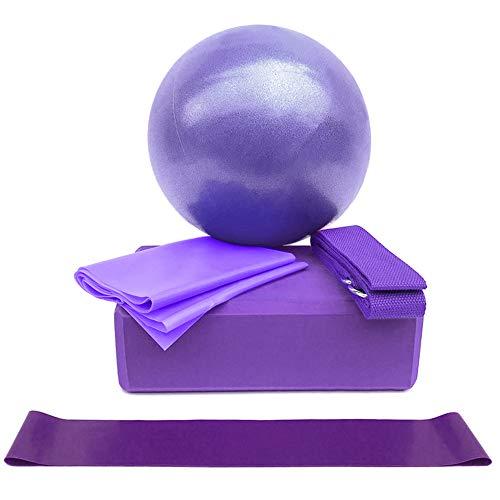 Lixada Bloque de Yoga Correa de Yoga con Anillo Banda Elástica Banda de Resistencia para Yoga Equipo de Yoga 5pcs