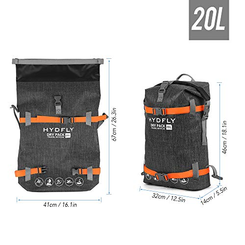 Lixada Bolsa Estanca Seca Impermeable Roll-Top Mochila Impermeable para Trekking Nadar Kayak Deportes Acuáticos 10L/15L/20L