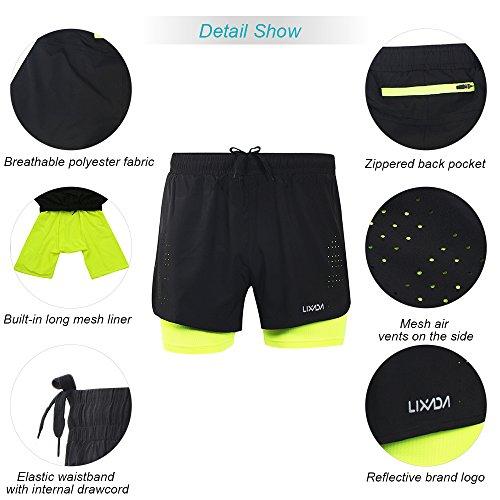 Lixada Hombres Pantalónes Cortos de Running 2-en-1, Pantalones Cortos de Atletismo, Pantalones Cortos de Fitness Maratón, Transpirable Pantalones+Secado Rápido (Verde, M)