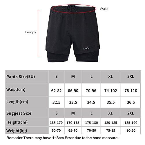 Lixada Hombres Pantalónes Cortos de Running 2-en-1, Pantalones Cortos de Atletismo, Pantalones Cortos de Fitness Maratón, Transpirable Pantalones+Secado Rápido (Verde, L)
