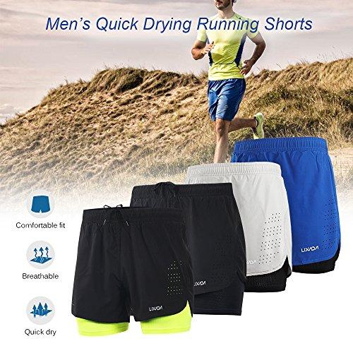 Lixada Hombres Pantalónes Cortos de Running 2-en-1, Pantalones Cortos de Atletismo, Pantalones Cortos de Fitness Maratón, Transpirable Pantalones+Secado Rápido (Negro, M)