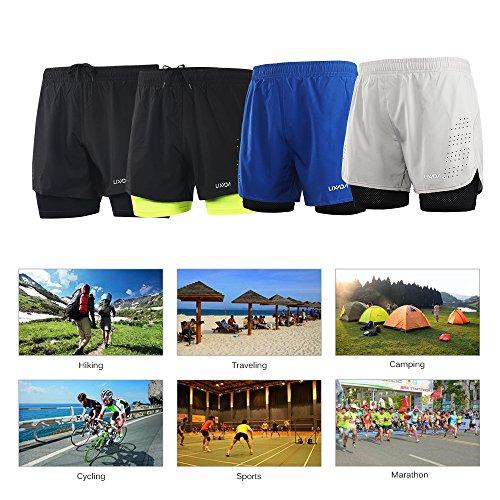 Lixada Hombres Pantalónes Cortos de Running 2-en-1, Pantalones Cortos de Atletismo, Pantalones Cortos de Fitness Maratón, Transpirable Pantalones+Secado Rápido (Negro, L)