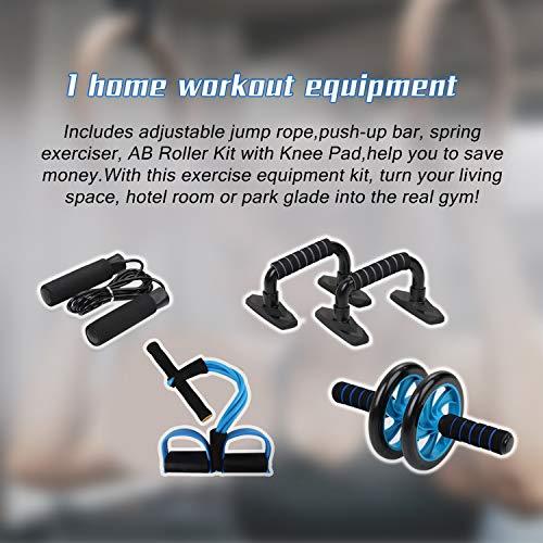 Lixada Rueda Abdominal Kit 4/5 en 1 con Push-UP Bar Cuerda para Saltar Esterilla de Rodilla para Fuerza Muscular Fitness Ejercicio en Casa