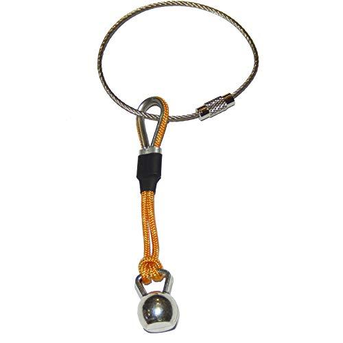 Llavero Kettlebell cordón Amarillo con guardacabos y Manguitos metálicos y Goma. Regalo