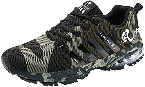 Logobeing Zapatillas Deporte Hombres Running Zapatos Hombre Deportivos Casuales Zapatillas Running Hombre Auriculares Correr en Asfalto Calzado Deportivo Hombre(42,Ejercito Verde)