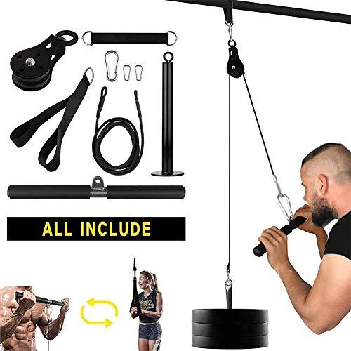 Lolly-U - Equipo de fitness para gimnasio en el hogar, 9 piezas, sistema de polea LAT para el brazo, entrenamiento de fuerza muscular, fácil instalación, equipo de fitness para hombres y mujeres