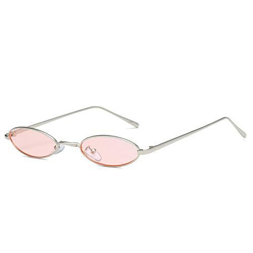 Long Gafas de Sol de Metal ovaladas Redondas pequeñas y Vintage para Mujer, Gafas de Sol para Hombre, con Cierre a presión de Calle-Rosa Plateado